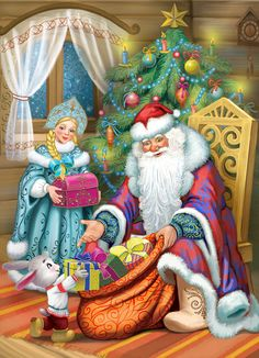 81a73469af3b9cc3a419352838554791--santa-paintings-vintage-postcards